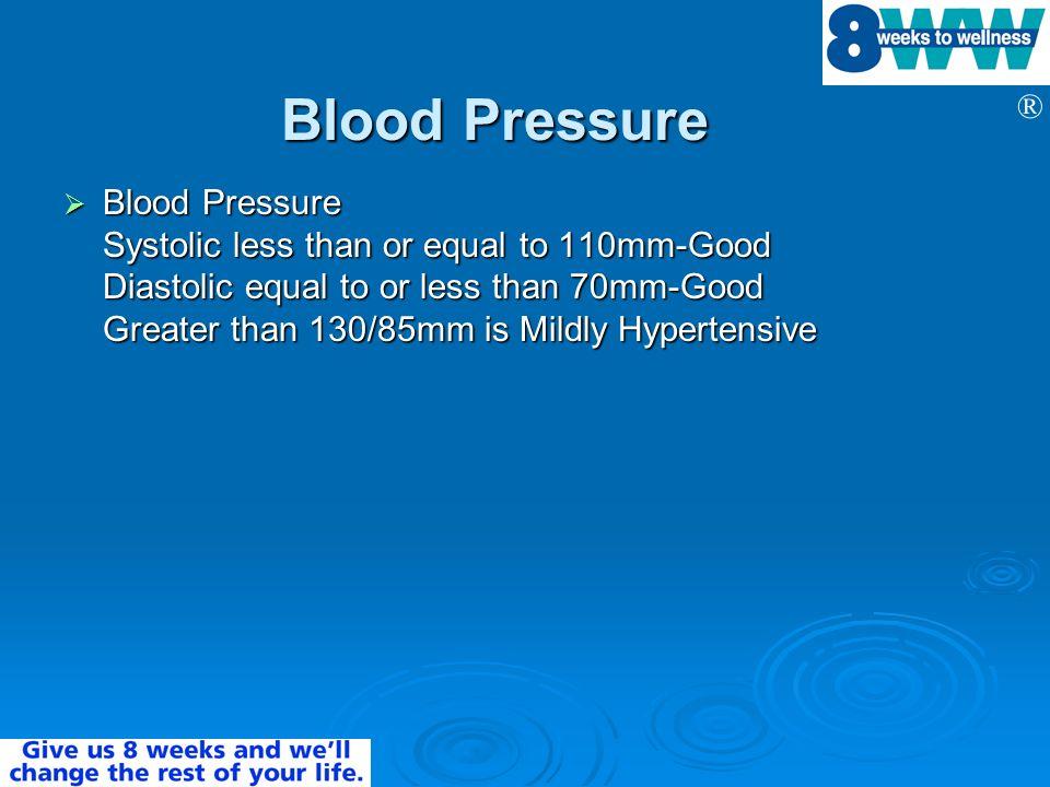 ® Blood Pressure Blood Pressure Blood Pressure Systolic less than or equal to 110mm-Good Diastolic equal to or less than 70mm-Good Greater than 130/85