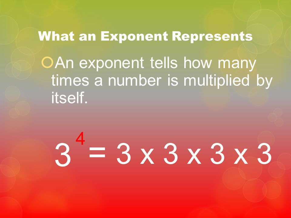 What an Exponent Represents An exponent tells how many times a number is multiplied by itself. 3 4 = 3 x 3 x 3 x 3