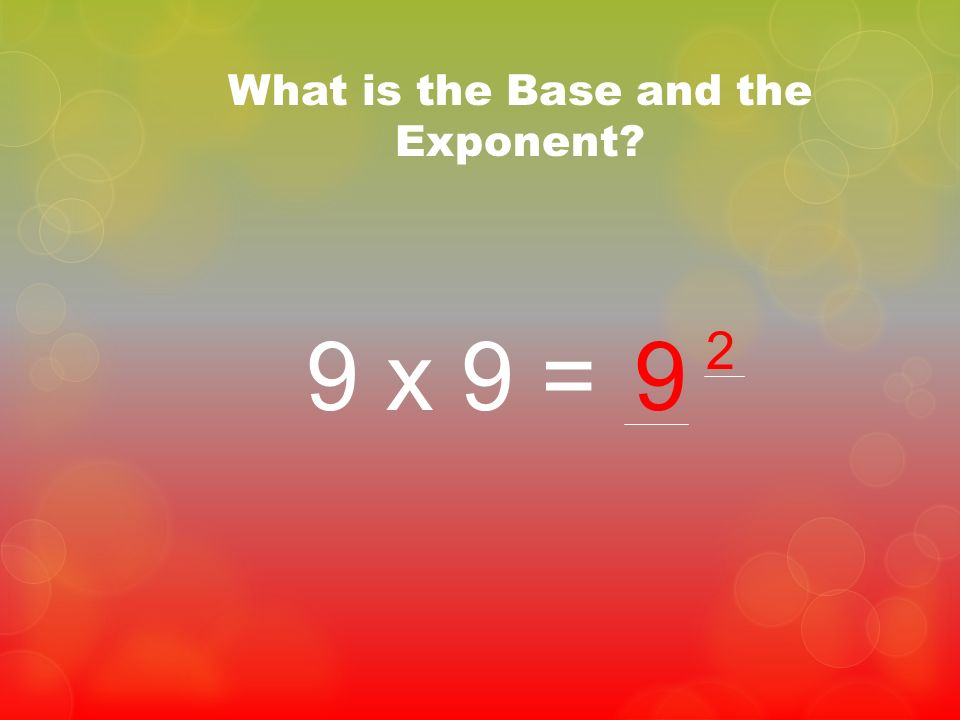 What is the Base and the Exponent? 9 x 9 =9 2