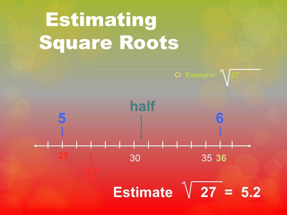 Estimating Square Roots Example: 27 25 3530 27 56 half Estimate 27 = 5.2 36