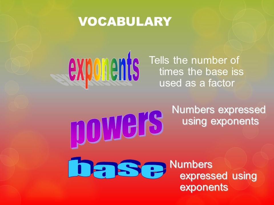 VOCABULARY Tells the number of times the base iss used as a factor Numbers expressed using exponents