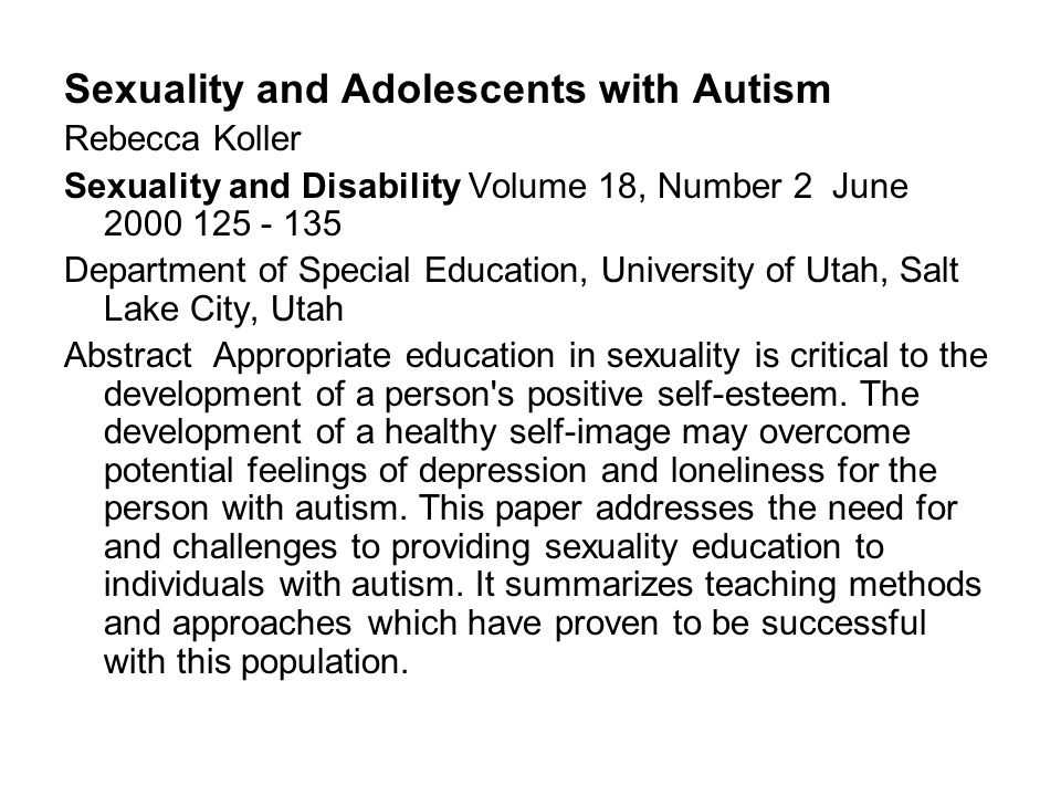 Sex Matters in Autism and Other Developmental Disabilities Travis Thompson, et al Journal of Learning Disabilities, Vol.