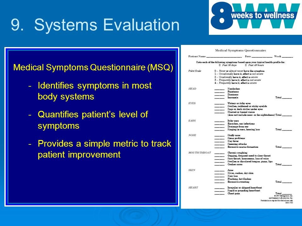 ® Medical Symptoms Questionnaire (MSQ) - -Identifies symptoms in most body systems - -Quantifies patients level of symptoms - -Provides a simple metri