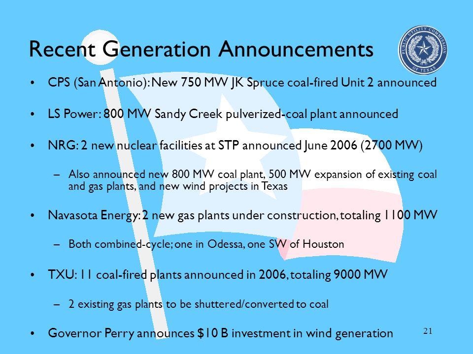 21 Recent Generation Announcements CPS (San Antonio): New 750 MW JK Spruce coal-fired Unit 2 announced LS Power: 800 MW Sandy Creek pulverized-coal pl