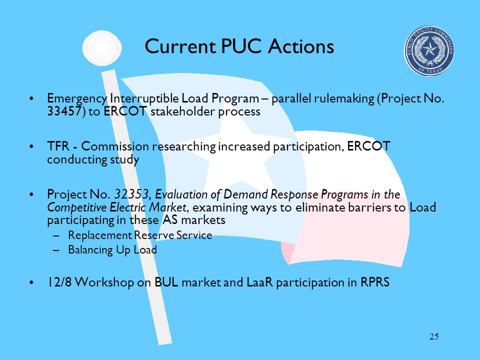 25 Current PUC Actions Emergency Interruptible Load Program – parallel rulemaking (Project No. 33457) to ERCOT stakeholder process TFR - Commission re