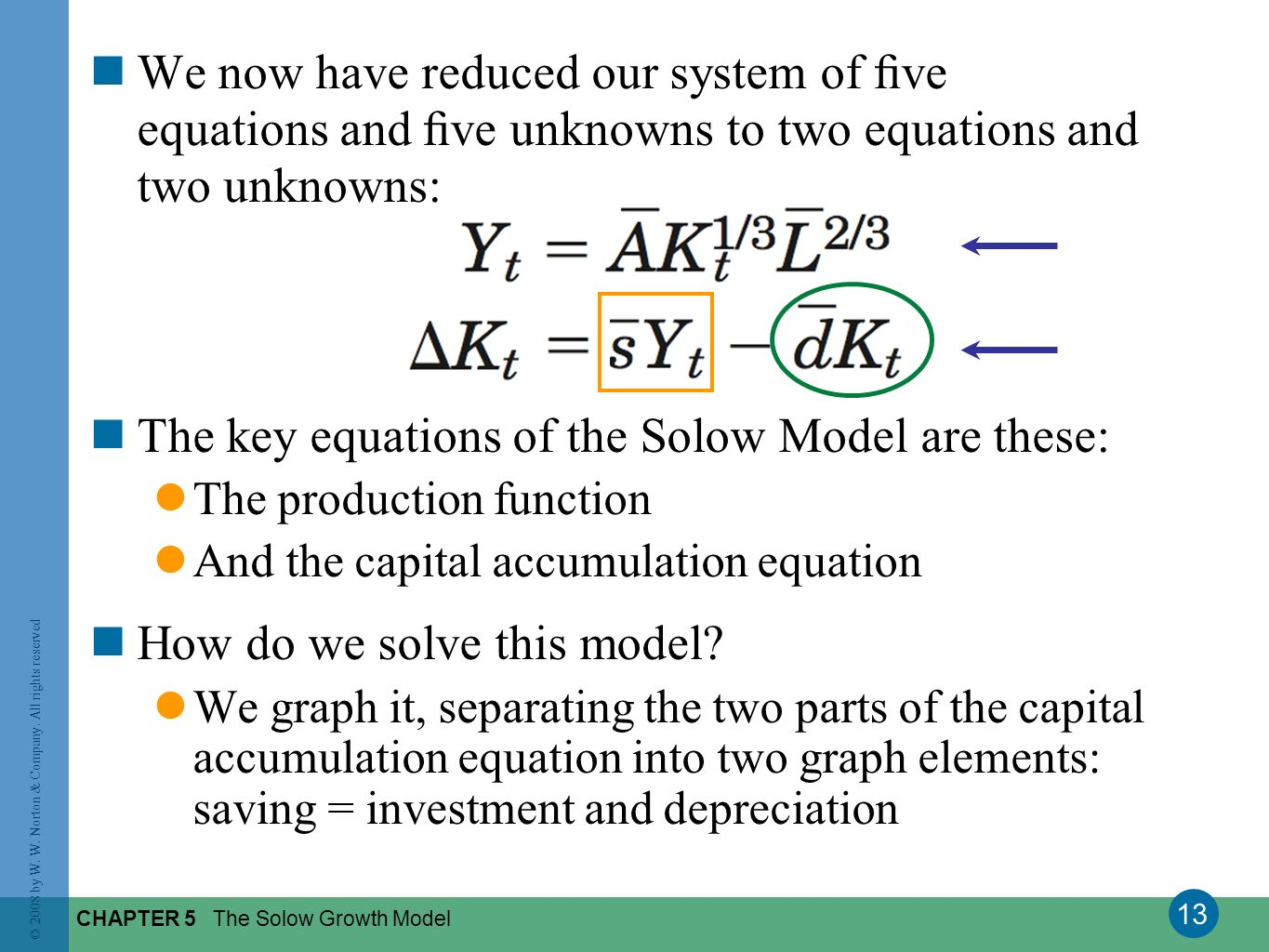 13 © 2008 by W. W. Norton & Company. All rights reserved CHAPTER 5 The Solow Growth Model We now have reduced our system of ve equations and ve unknow