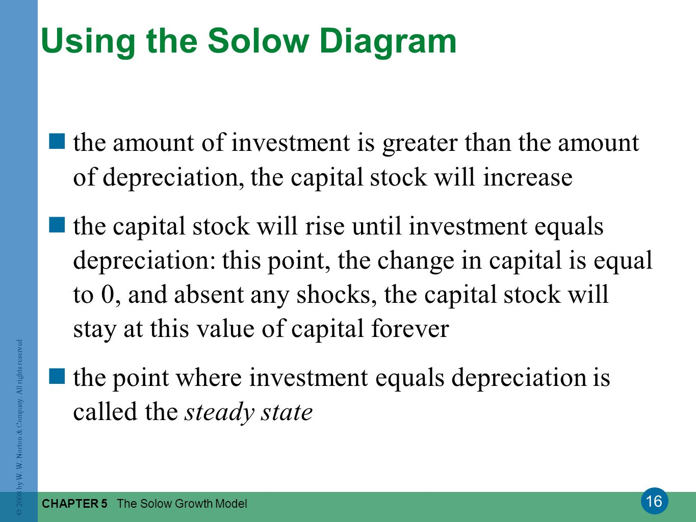 16 © 2008 by W. W. Norton & Company. All rights reserved CHAPTER 5 The Solow Growth Model Using the Solow Diagram the amount of investment is greater