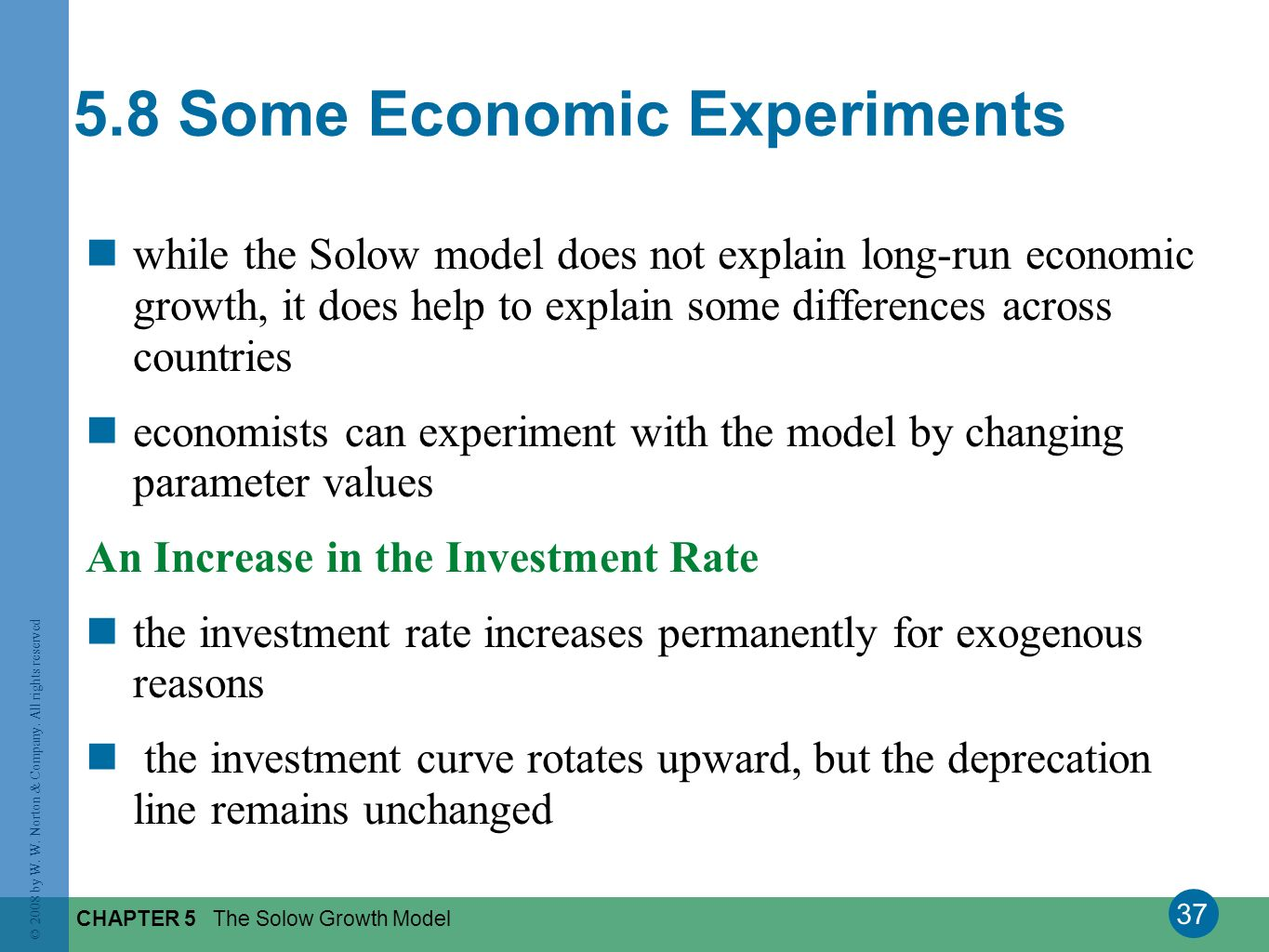 37 © 2008 by W. W. Norton & Company. All rights reserved CHAPTER 5 The Solow Growth Model while the Solow model does not explain long-run economic gro