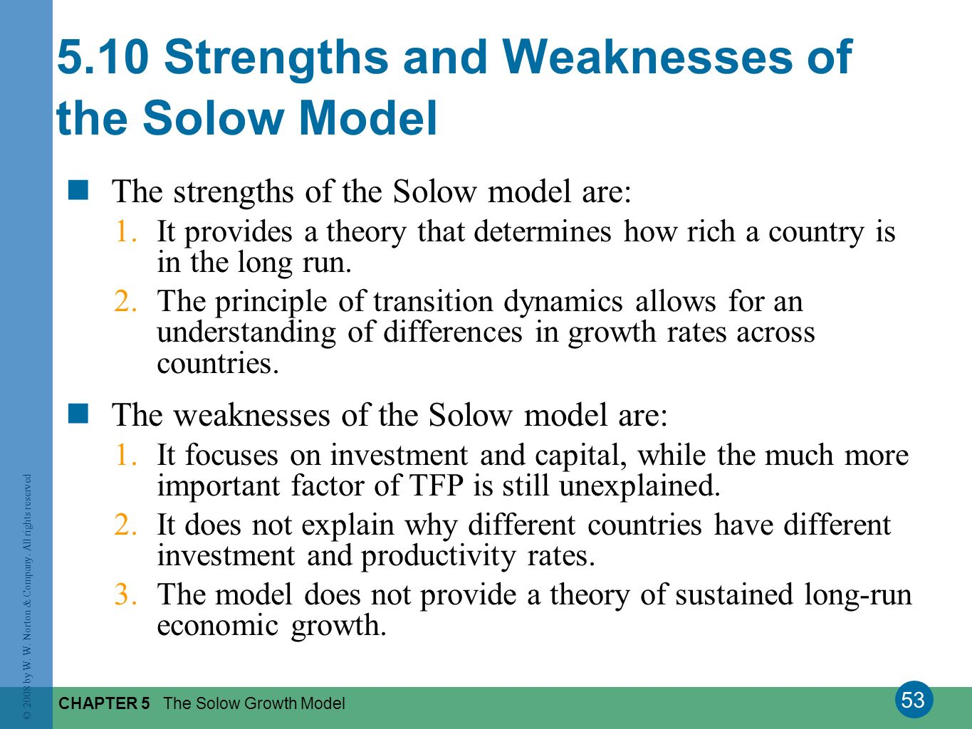 53 © 2008 by W. W. Norton & Company. All rights reserved CHAPTER 5 The Solow Growth Model 5.10 Strengths and Weaknesses of the Solow Model The strengt