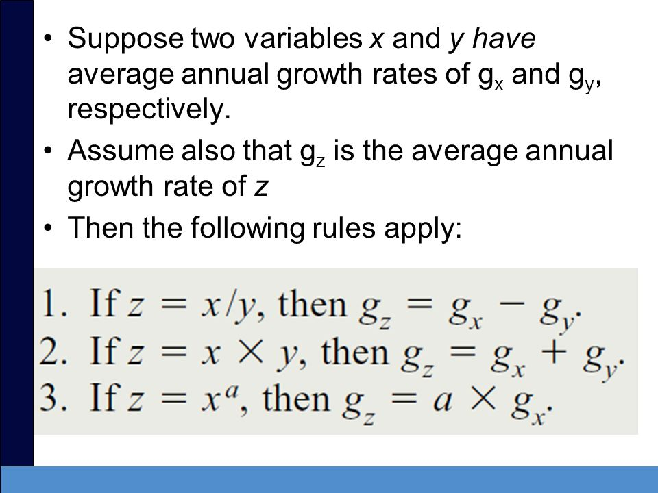 Suppose two variables x and y have average annual growth rates of g x and g y, respectively. Assume also that g z is the average annual growth rate of