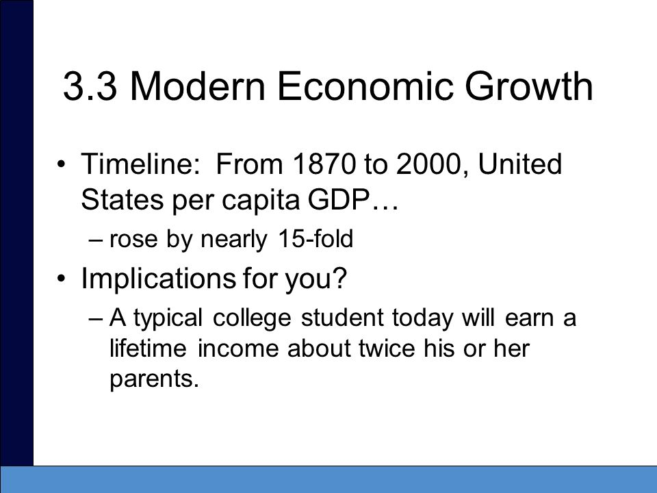 3.3 Modern Economic Growth Timeline: From 1870 to 2000, United States per capita GDP… –rose by nearly 15-fold Implications for you? –A typical college