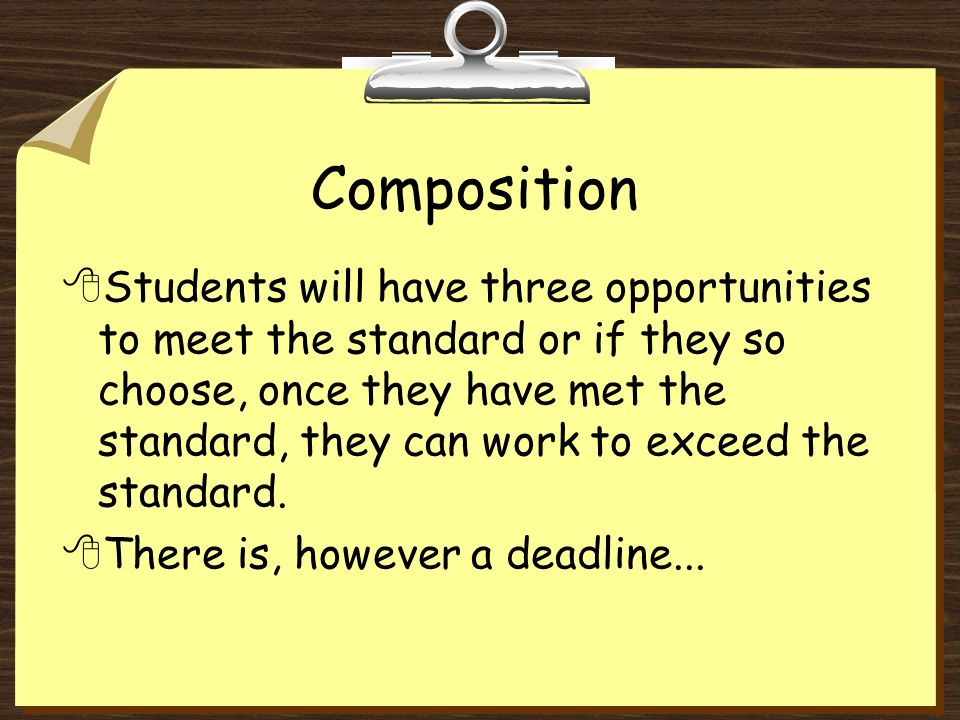 Exceeds standard 8Student must first meet the standard 8The composition contains no more than 2 errors.