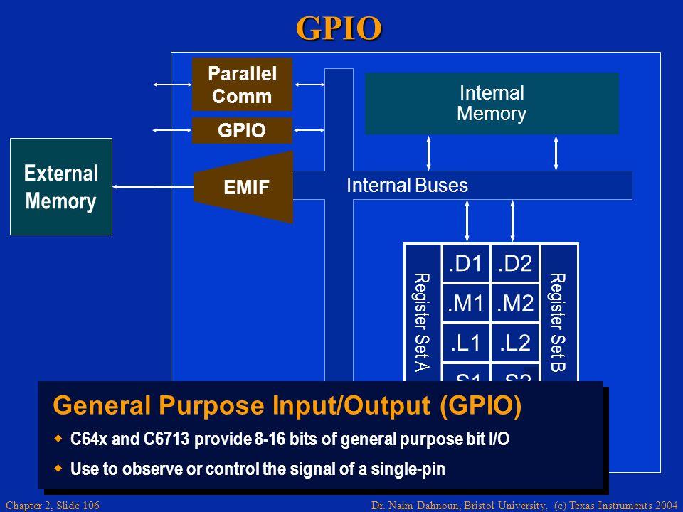 Dr. Naim Dahnoun, Bristol University, (c) Texas Instruments 2004 Chapter 2, Slide 106GPIO External Memory.D1.M1.L1.S1.D2.M2.L2.S2 Register Set B Regis