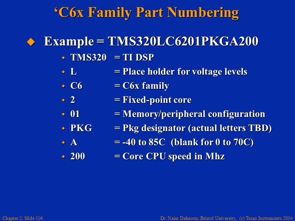Dr. Naim Dahnoun, Bristol University, (c) Texas Instruments 2004 Chapter 2, Slide 116 C6x Family Part Numbering Example = TMS320LC6201PKGA200 Example