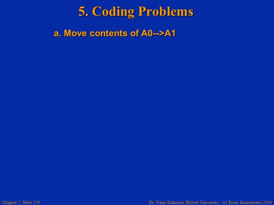 Dr. Naim Dahnoun, Bristol University, (c) Texas Instruments 2004 Chapter 2, Slide 119 5. Coding Problems a. Move contents of A0-->A1 a. Move contents