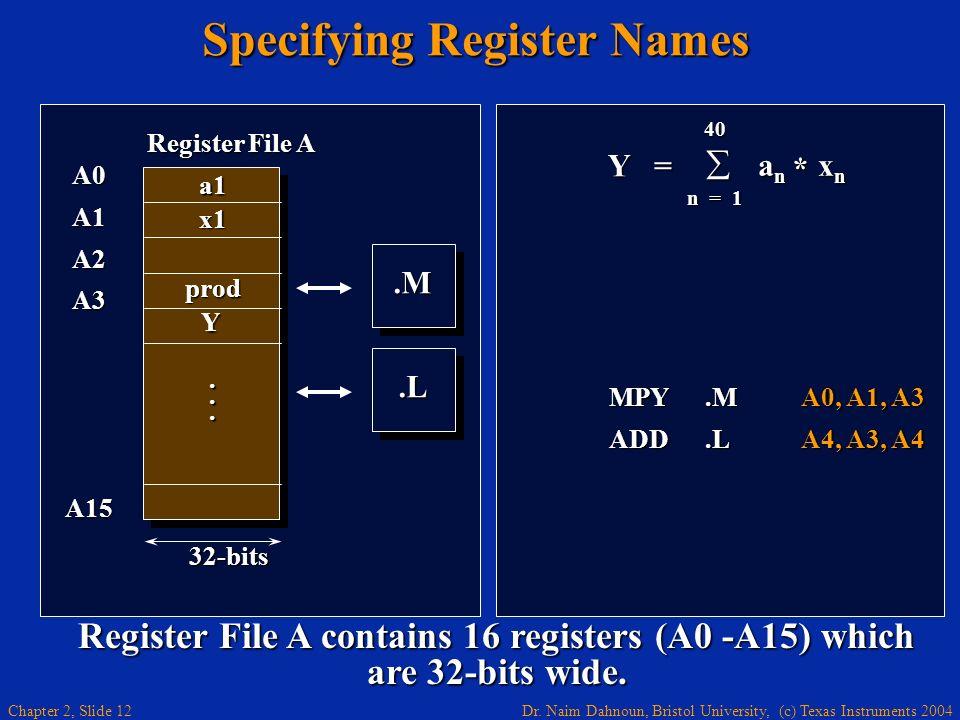 Dr. Naim Dahnoun, Bristol University, (c) Texas Instruments 2004 Chapter 2, Slide 12 Specifying Register Names Y = 40 a n x n a n x n n = 1 * MPY.MA0,
