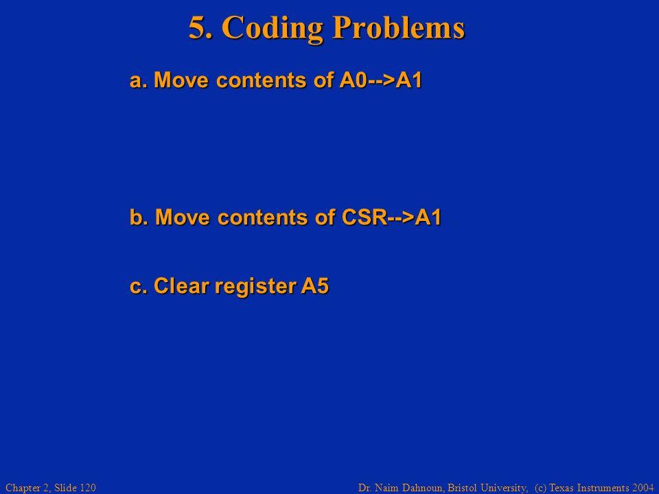 Dr. Naim Dahnoun, Bristol University, (c) Texas Instruments 2004 Chapter 2, Slide 120 5. Coding Problems a. Move contents of A0-->A1 a. Move contents