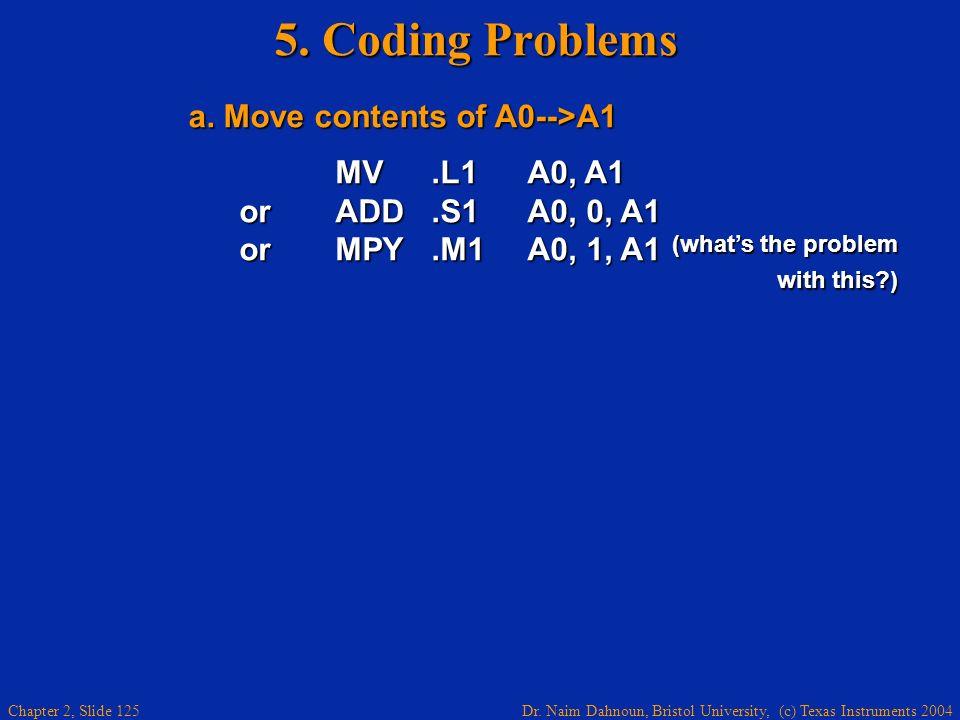 Dr. Naim Dahnoun, Bristol University, (c) Texas Instruments 2004 Chapter 2, Slide 125 5. Coding Problems a. Move contents of A0-->A1 a. Move contents