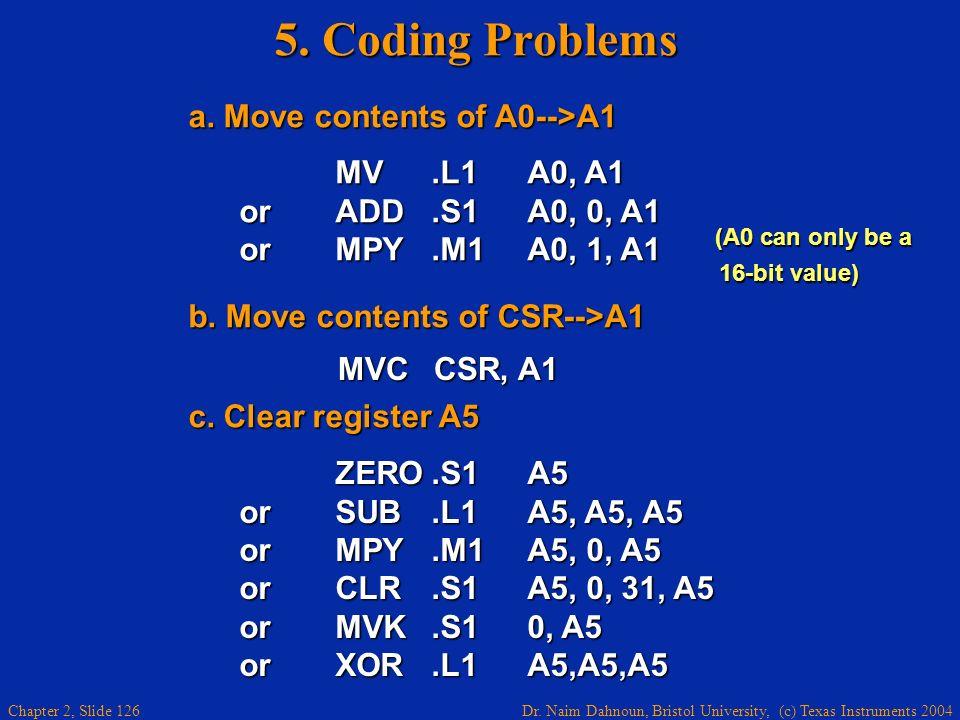 Dr. Naim Dahnoun, Bristol University, (c) Texas Instruments 2004 Chapter 2, Slide 126 5. Coding Problems a. Move contents of A0-->A1 a. Move contents