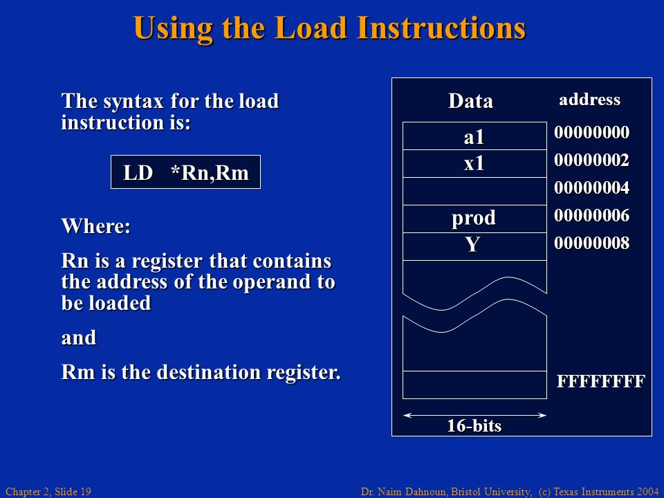 Dr. Naim Dahnoun, Bristol University, (c) Texas Instruments 2004 Chapter 2, Slide 19 The syntax for the load instruction is: Where: Rn is a register t