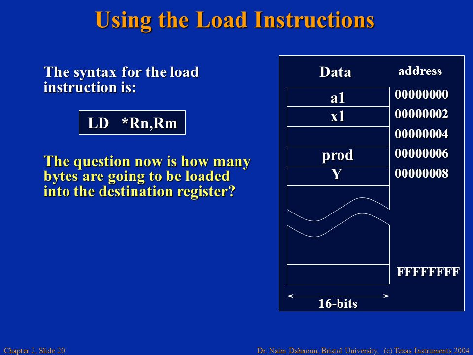 Dr. Naim Dahnoun, Bristol University, (c) Texas Instruments 2004 Chapter 2, Slide 20 The syntax for the load instruction is: The question now is how m