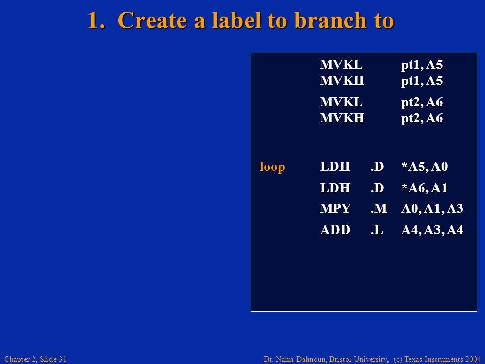 Dr. Naim Dahnoun, Bristol University, (c) Texas Instruments 2004 Chapter 2, Slide 31 1. Create a label to branch to MVKL pt1, A5 MVKL pt1, A5 MVKH pt1