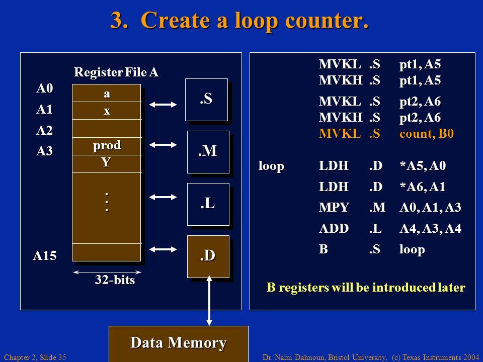 Dr. Naim Dahnoun, Bristol University, (c) Texas Instruments 2004 Chapter 2, Slide 35 Data Memory 3. Create a loop counter..M.M.L.L A0A1A2A3A15 Registe