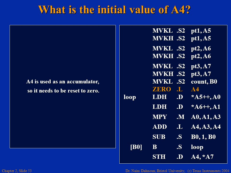Dr. Naim Dahnoun, Bristol University, (c) Texas Instruments 2004 Chapter 2, Slide 53 What is the initial value of A4? A4 is used as an accumulator, so