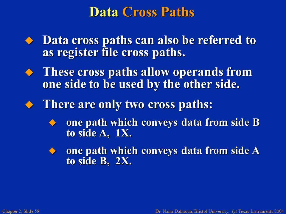 Dr. Naim Dahnoun, Bristol University, (c) Texas Instruments 2004 Chapter 2, Slide 59 Data Cross Paths Data cross paths can also be referred to as regi