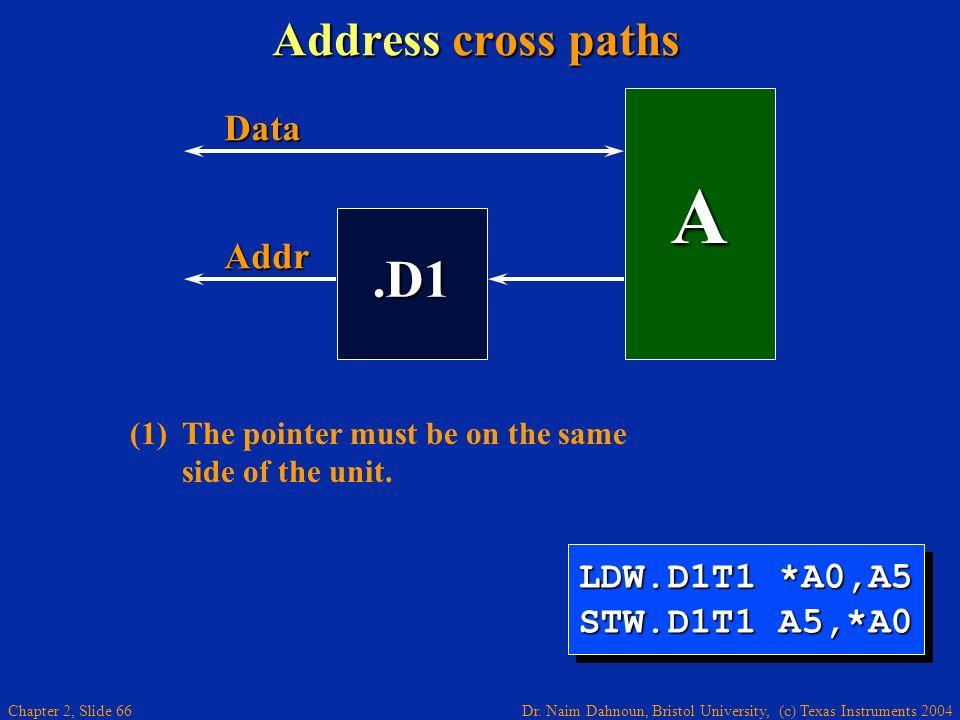Dr. Naim Dahnoun, Bristol University, (c) Texas Instruments 2004 Chapter 2, Slide 66 Address cross paths.D1 A Addr Data LDW.D1T1 *A0,A5 STW.D1T1 A5,*A