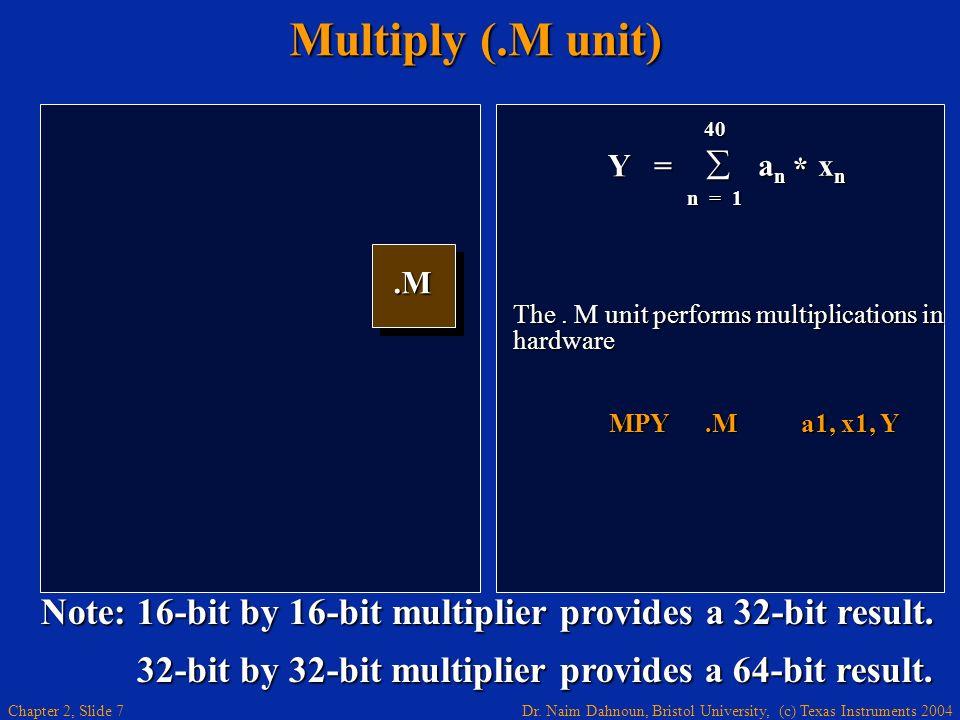Dr. Naim Dahnoun, Bristol University, (c) Texas Instruments 2004 Chapter 2, Slide 7 Multiply (.M unit).M.M Y = 40 a n x n a n x n n = 1 * The. M unit