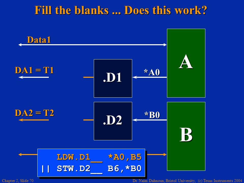 Dr. Naim Dahnoun, Bristol University, (c) Texas Instruments 2004 Chapter 2, Slide 70 Fill the blanks... Does this work?.D1 A *A0 B.D2 Data1 *B0 LDW.D1