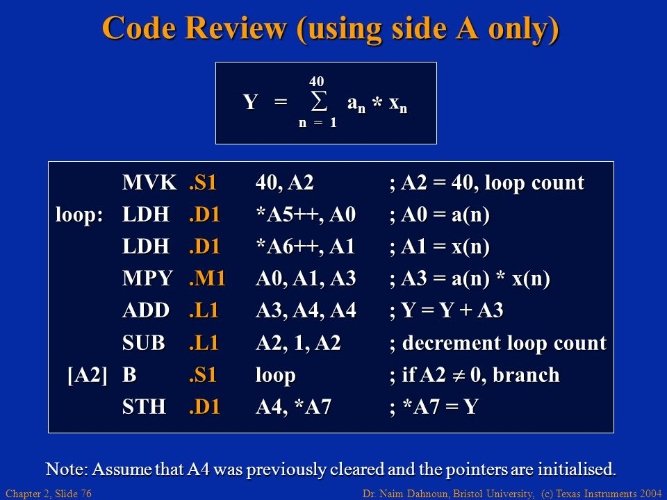 Dr. Naim Dahnoun, Bristol University, (c) Texas Instruments 2004 Chapter 2, Slide 76 Code Review (using side A only) MVK.S140, A2; A2 = 40, loop count