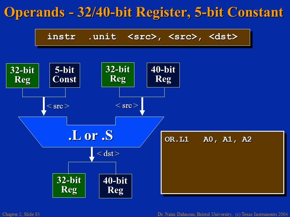 Dr. Naim Dahnoun, Bristol University, (c) Texas Instruments 2004 Chapter 2, Slide 83 Operands - 32/40-bit Register, 5-bit Constant OR.L1 A0, A1, A2 in