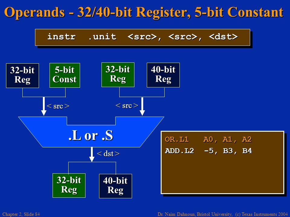 Dr. Naim Dahnoun, Bristol University, (c) Texas Instruments 2004 Chapter 2, Slide 84 Operands - 32/40-bit Register, 5-bit Constant OR.L1 A0, A1, A2 AD