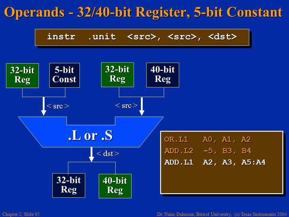 Dr. Naim Dahnoun, Bristol University, (c) Texas Instruments 2004 Chapter 2, Slide 85 Operands - 32/40-bit Register, 5-bit Constant OR.L1 A0, A1, A2 AD