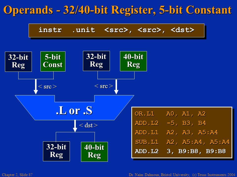 Dr. Naim Dahnoun, Bristol University, (c) Texas Instruments 2004 Chapter 2, Slide 87 Operands - 32/40-bit Register, 5-bit Constant OR.L1 A0, A1, A2 AD