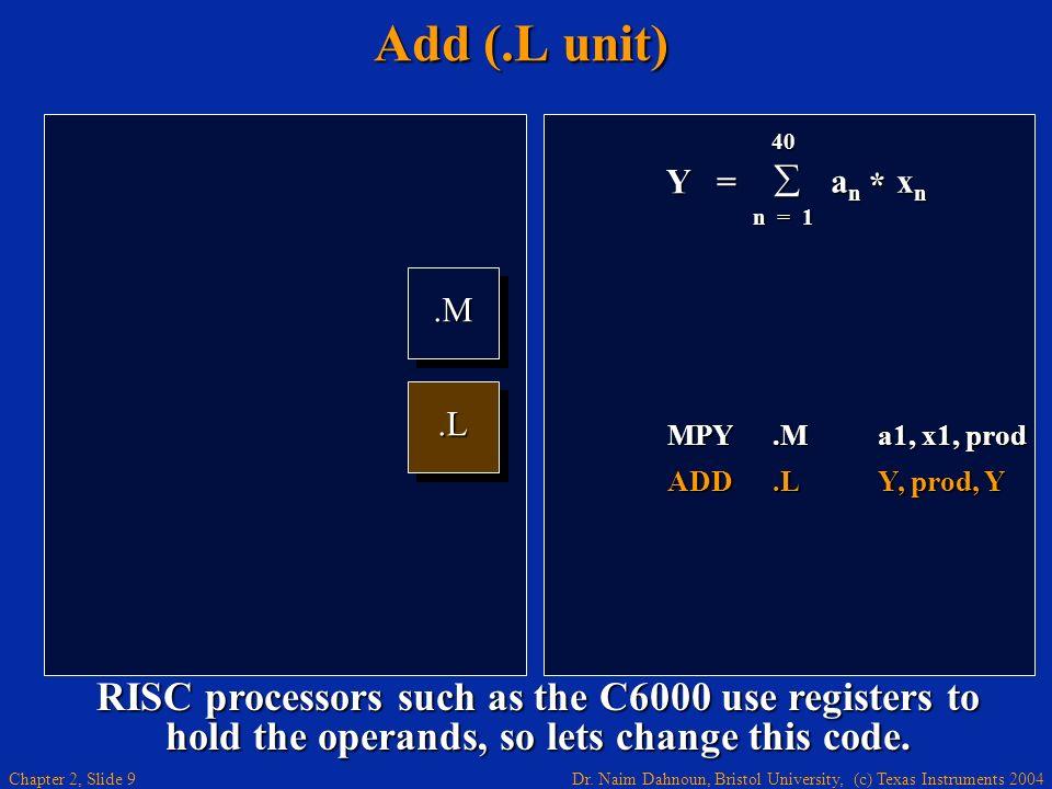 Dr. Naim Dahnoun, Bristol University, (c) Texas Instruments 2004 Chapter 2, Slide 9 Add (.L unit).M.M.L.L Y = 40 a n x n a n x n n = 1 * MPY.Ma1, x1,