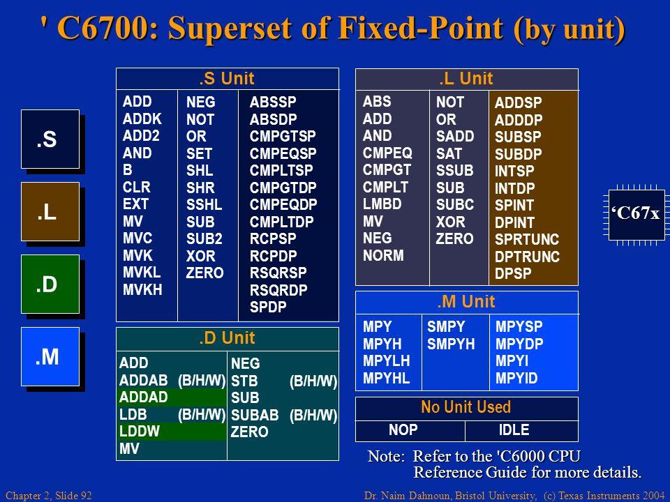 Dr. Naim Dahnoun, Bristol University, (c) Texas Instruments 2004 Chapter 2, Slide 92 ' C6700: Superset of Fixed-Point ( by unit ).L.D.S.M No Unit Used