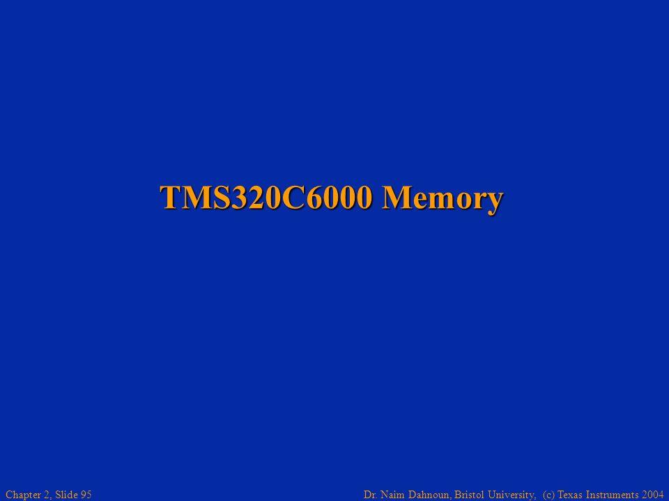 Dr. Naim Dahnoun, Bristol University, (c) Texas Instruments 2004 Chapter 2, Slide 95 TMS320C6000 Memory