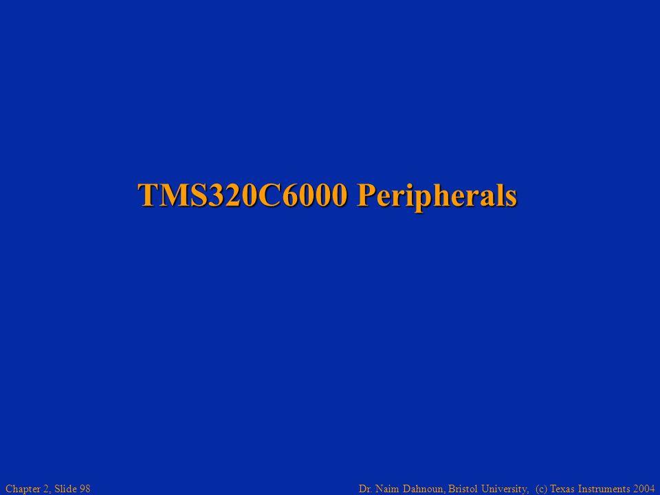Dr. Naim Dahnoun, Bristol University, (c) Texas Instruments 2004 Chapter 2, Slide 98 TMS320C6000 Peripherals