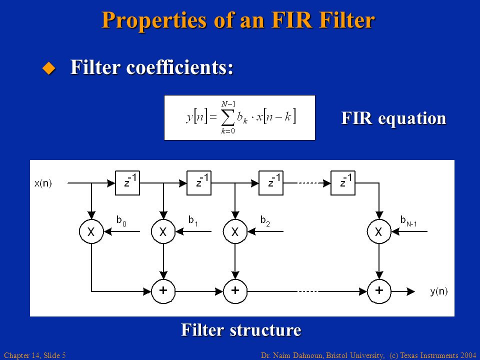 Dr. Naim Dahnoun, Bristol University, (c) Texas Instruments 2004 Chapter 14, Slide 5 Properties of an FIR Filter Filter coefficients: Filter coefficie