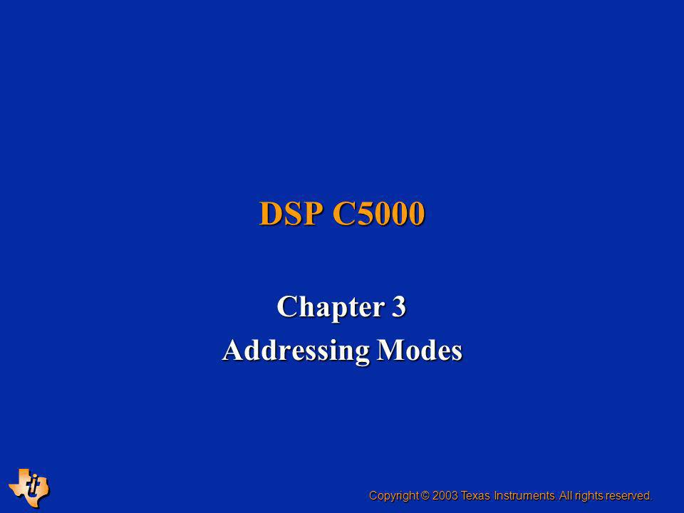 ESIEE, Slide 2Objectives Present the main addressing modes and allocation of sections Present the main addressing modes and allocation of sections Present the main addressing modes of the C54 family Present the main addressing modes of the C54 family Present the main addressing modes of the C55 family Present the main addressing modes of the C55 family Explain how to use these addressing modes Explain how to use these addressing modes Do exercises to practice using the different addressing modes Do exercises to practice using the different addressing modes