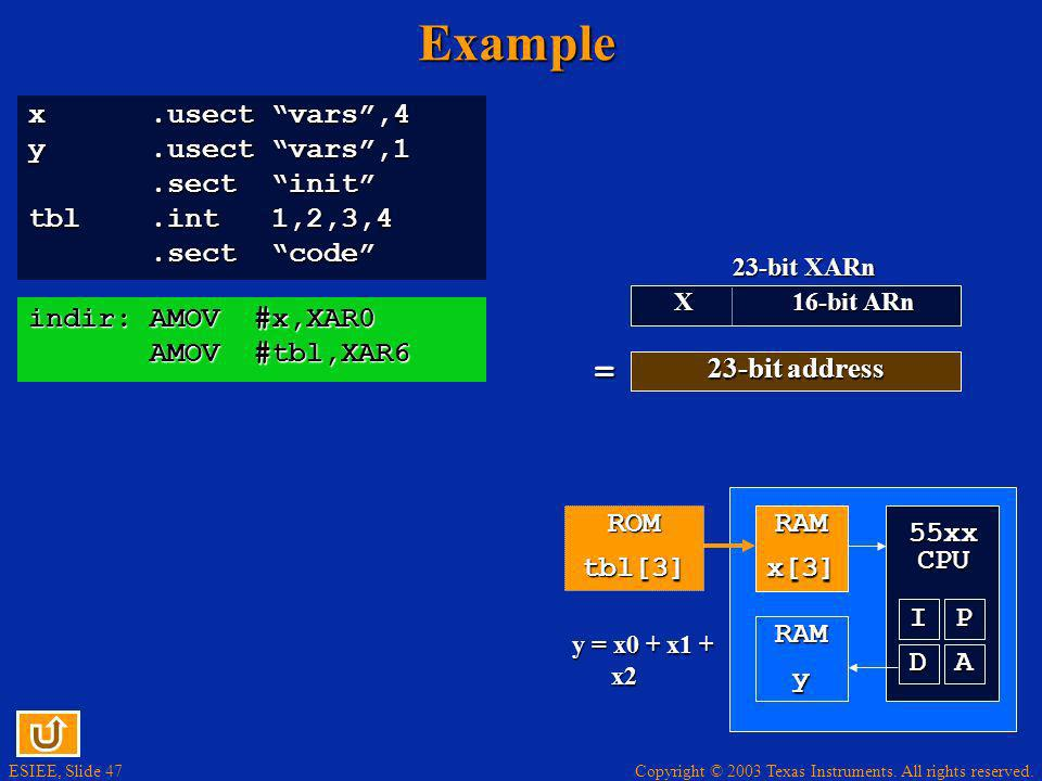 Copyright © 2003 Texas Instruments. All rights reserved. ESIEE, Slide 47Example x.usect vars,4 y.usect vars,1.sect init.sect init tbl.int 1,2,3,4.sect