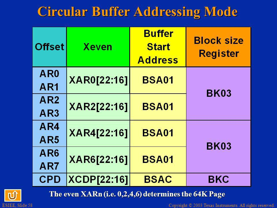 Copyright © 2003 Texas Instruments. All rights reserved. ESIEE, Slide 58 Circular Buffer Addressing Mode The even XARn (i.e. 0,2,4,6) determines the 6