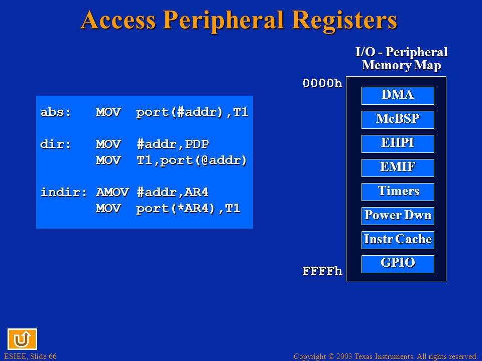 Copyright © 2003 Texas Instruments. All rights reserved. ESIEE, Slide 66 Access Peripheral Registers 0000h FFFFh I/O - Peripheral Memory Map DMA McBSP