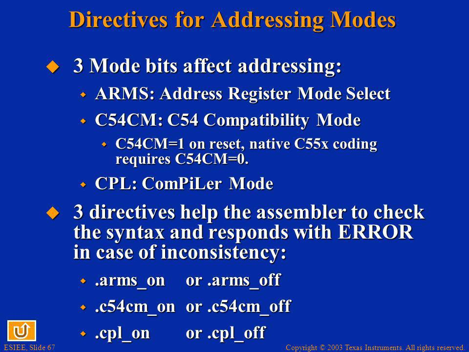 Copyright © 2003 Texas Instruments. All rights reserved. ESIEE, Slide 67 Directives for Addressing Modes 3 Mode bits affect addressing: 3 Mode bits af