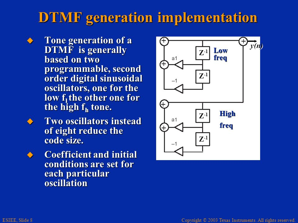 Copyright © 2003 Texas Instruments. All rights reserved. ESIEE, Slide 8 DTMF generation implementation Tone generation of a DTMF is generally based on