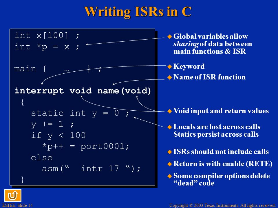 ESIEE, Slide 14 Copyright © 2003 Texas Instruments. All rights reserved. Writing ISRs in C int x[100] ; int *p = x ; main { … } ; interrupt void name(
