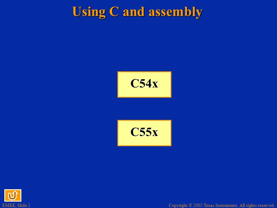 ESIEE, Slide 2 Copyright © 2003 Texas Instruments. All rights reserved. Using C and assembly C54x C54x C55x C55x